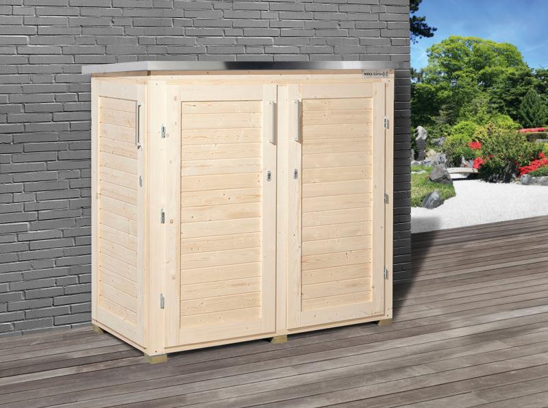 weka garten q teras gartenschrank natur ger teschrank ebay. Black Bedroom Furniture Sets. Home Design Ideas