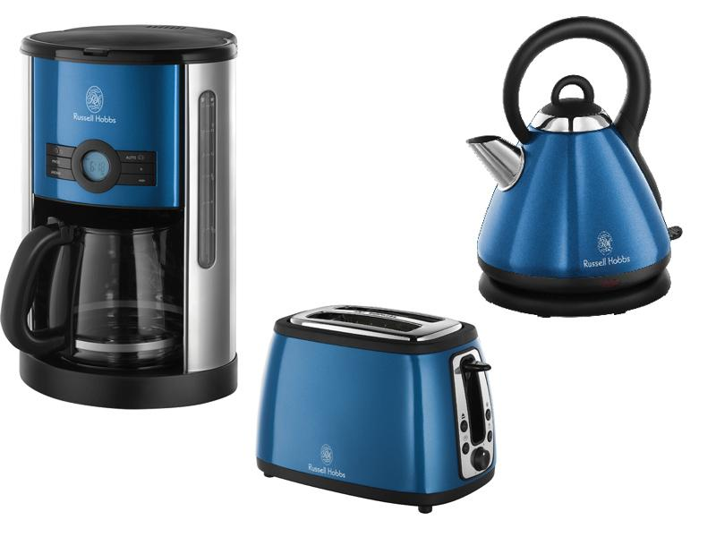 russell hobbs sky blue cottage set kaffeemaschine toaster wasserkocher ne ebay. Black Bedroom Furniture Sets. Home Design Ideas