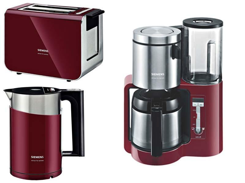 fr hst cksset kaffeemaschine toaster wasserkocher rot. Black Bedroom Furniture Sets. Home Design Ideas